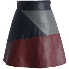 Chicwish Color Block Faux Leather Skirt in Wine (574.410 IDR) ❤ liked on Polyvore featuring skirts, multi, retro skirt, fake leather skirt, imitation leather skirt, colorblock skirt and vegan leather skirt