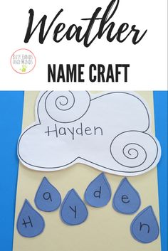Weather Name Craft for Preschool - Weather Name Craft for Preschool and PreK Weather Name Craft for Preschool and PreK Informations Ab - Cutting Activities For Kids, Name Activities Preschool, Preschool Weather, Weather Activities, Preschool Activities, Weather Science, Weather Unit, Lesson Plans