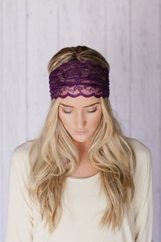 Plum Lace Headband Wide Stretchy Lace Purple Hair Band Hair Tie Back Hair Band Head Covering. $12.99, via Etsy.