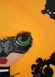 Ragazza Macherata, sexy lady, sexy mask...cat, black cat,,,blond girl