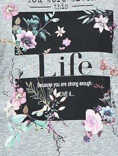 Maglietta stampata a fiori grigio Taglie forti donna