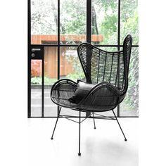 HKliving Egg Chair Stoel - Zwart