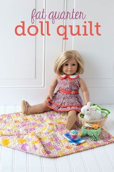 Use two fat quarters to make this quick and easy quilt for an American Doll Girl. How to make a doll quilt. Use two fat quarters to make this quick and easy quilt for an American Doll Girl. How to make a doll quilt. Sewing Doll Clothes, Baby Doll Clothes, Sewing Dolls, Doll Clothes Patterns, Doll Patterns, Sewing Patterns, Barbie Clothes, Diy Clothes, American Girl Outfits