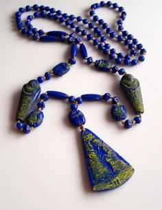 Vintage Neiger Art Deco Egyptian Blue by NeigerCollectorsClub, $275.00