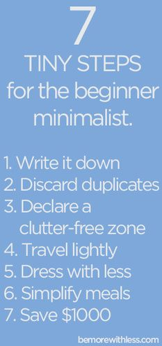7 Tiny Steps for the Beginner Minimalist