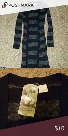 Black and grey stripped long cardigan Really long stripped cardigan from body central body central  Sweaters Cardigans