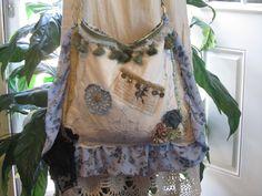 Blue Boho Hobo Bag with fringe tassel Bohemian by NanasSunshine