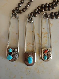 One Vintage Turqouise Necklace safety Pin jewelry by luxrevival, $50.00