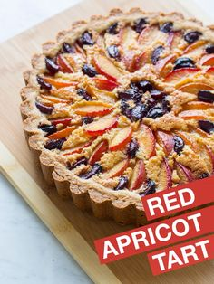 Red Apricot and Sweet Cherry Tart with a Cashew Frangipane - spoon fork bacon