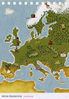 Artur Bodenstein illustration. Europe map