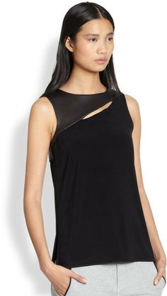 Union Leatherpaneled Slashed Tank - Lyst (Rag and Bone)