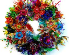 Plastic bottle flower door wreath, Recycled Art, Plastic Bottle Art Centerpiece, Art Statement, Abstract Colorful Wall Art CHihULy inspired plastic bottle flower wreath by ArtePlastique Plastic Bottle Flowers, Plastic Bottle Crafts, Plastic Art, Recycle Plastic Bottles, Plastic Recycling, Pop Bottle Crafts, Pet Recycling, Melted Plastic, Plastic Animals