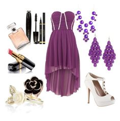 """soirée purple"" by flower36-1 ❤ liked on Polyvore featuring Chi Chi, ALDO, L'Oréal Paris, Chanel, Yves Saint Laurent, BaubleBar and Accessorize"