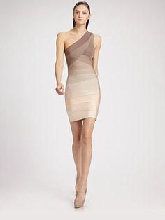 Herve Leger One-Shoulder Ombre Bandage Dress