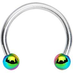16 Gauge Rainbow Titanium Ball Horseshoe Circular Barbell 3/8 #bodycandy #rainbow #barbell $2.99