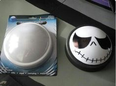 Dollar store Halloween project. Push light paint base black, color something spooky on light