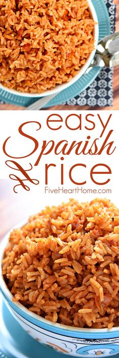 Easy Spanish Rice ~ cook a pot of rice using chicken broth, tomato sauce, and a few seasonings to make this quick and easy Spanish Rice...it's the perfect base for rice bowls or a delicious side dish to your favorite Mexican entrees! | FiveHeartHome.com