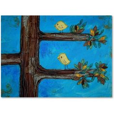 Trademark Fine Art Birds in a Tree Mixed Media Canvas Art by Nicole Dietz, Size: 35 x 47, Multicolor