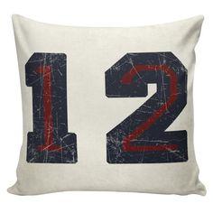 Football Pillow Cover - 100% cotton front, cotton or burlap back Vintage Sports Theme Man Cave  Boys Room Decor Stub24 #S20018