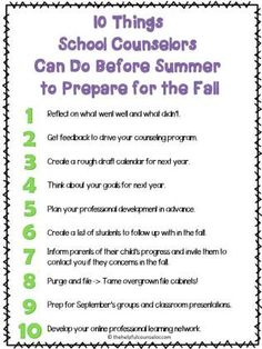 10 Things School Counselors Can Do Now to Prepare for Next Year « The Helpful Counselor