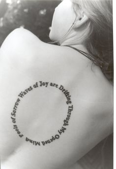 Tattoo by ~cyranowiththepigs words from the Beatles' song 'Across the Universe'. It reads ' Pools of Sorrow Waves of Joy are Drifting Through My Opened Mind'