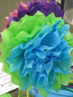 mothers day flowers from tissue paper - preschoolers can do this!