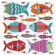 Fish Shoal Card for The Art Group - Karten - Folk Embroidery, Embroidery Stitches, Embroidery Patterns, Machine Embroidery, Indian Embroidery, Folk Art Fish, Fish Art, Bordado Popular, Clay Fish