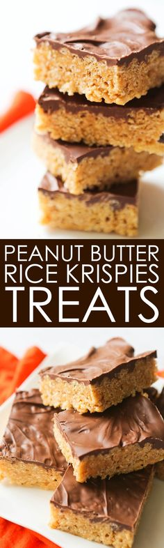 Chocolate-Covered Peanut Butter Rice Krispies Treats   Only 5 ingredients, 20 minutes and this irresistible no-bake dessert is done. Always a party hit!