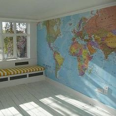 40 Super Ideas For Map Wallpaper Bedroom Colour World Map Mural, World Map Wallpaper, Office Wallpaper, Bedroom Wallpaper, Wallpaper Ideas, Wall Wallpaper, Wall Maps, Wall Mural, Toy Rooms