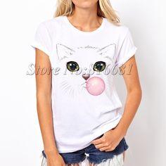 Women hipster kawaii t shirt summer style cartoon tops   tee shirts hand-painted scat tops   graphic tees
