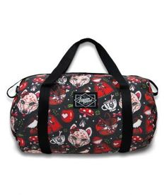 Liquorbrand Accessories Bags - tote / duffel at Switchblade Clothing Pin Up Outfits, Pin Up Dresses, Pinup, Rockabilly Shop, Americana Tattoo, Duffel Bag, Tote Bag, Sugar Skull Tattoos, Sugar Skulls