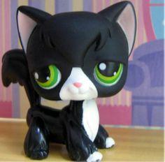 Littlest-Pet-Shop-HALLOWEEN-Black-White-55-TUXEDO-LONG-HAIR-CAT-LPS-Cat-lot
