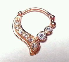 SEPTUM Clicker DAITH Ring Retainer Spacer Hoop 16g CZ Sterling Silver Rose Gold $98.95