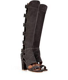 A bold choice any way you wear them, Laurence Dacade's over-the-knees are a high-fashion hybrid of sandal and boot #Stylebop