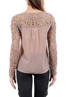 Pink Patchwork Lace Hollow-out Sweet Blouse - Blouses - Tops