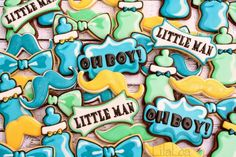 Decorated Bow Tie Cookies for a Little Man Baby Shower | Lila Loa