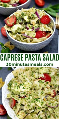 Caprese Pasta Salad is not just for the hot summer months. #salad #caprese #pastasalad #30minutesmeals #sidedish Fettuccine Recipes, Creamy Pasta Recipes, Vegetarian Pasta Recipes, Pasta Sauce Recipes, Chicken Pasta Recipes, Spaghetti Recipes, Noodle Recipes, Easy Delicious Recipes, Easy Appetizer Recipes