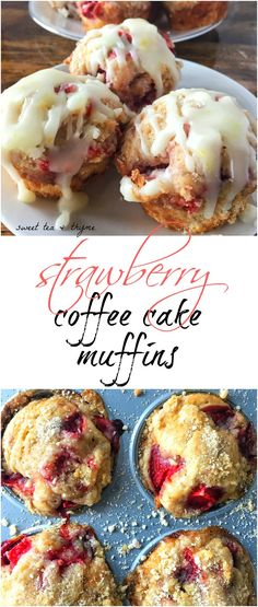 Miniature coffee cake are not only topped with fresh strawberries, but have them mixed into the batter and are sprinkled with a divine sugar streusel.