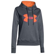 under armour storm big logo hoodie - carbon heather/citrus blast/neo pulse. $54.99.