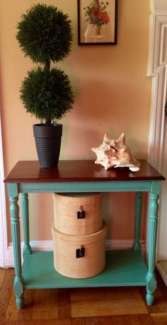 Vintage 1940's accent table hand painted by ColorfulHomeDesigns, $90.00