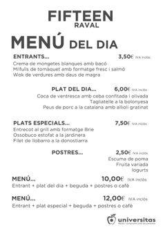 Y en Fifteen Raval tenéis este menú para hoy. Estamos en Montalegre 67 del #Raval #BCN