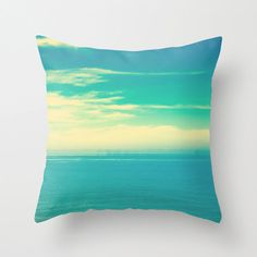 SALE, Pillow Cover, Beach Pillow, Cloud, Turquoise Pillow, Sky, Summer, Pillow, mint, ocean, yellow pillow, love, home, decor, nautical, art on Etsy, $37.00