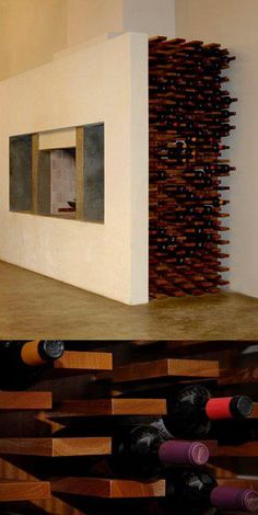 creative wine storage ; maybe do a horizontal version for saving space