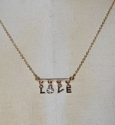 $10.00 Love Pendant Necklace, pave clear rhinestones, gold chain, Love letter Minimal necklace, Pavé crystals, dainty necklace, Mothers day gift by JanysJewelryBox on Etsy