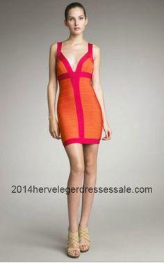 2014 Herve Leger Backless V-neck Color-Blocked Bandage Dresses    2014hervelegerdressessale.com 72f04190c