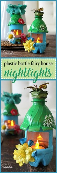 Turn empty plastic water bottles into adorable little fairy house night lights! Fun for a child& room or a nursery, or even the garden. Turn empty plastic water bottles into adorable li Projects For Kids, Diy For Kids, Craft Projects, Craft Ideas, Diy Ideas, House Projects, Party Ideas, Decor Ideas, Plastic Bottle Crafts