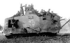One of only twenty ever made, a German Panzerkampfwagen A7V heavy tank makes it way to battle, 1918