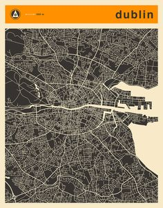Poster | DUBLIN MAP von Jazzberry Blue | more posters at http://moreposter.de