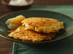 Potato pancakes, or latkes, are eaten traditionally during Hanukkah, but they are great to serve any time. Serve them with sour cream or Applesauce. Another great recipe to serve them with is our