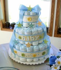 I love diaper cakes at baby showers! So cute and useful!